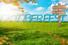 Bannière de fond d'Oktoberfest Pré vert Ciel nuageux bleu Panneau de destination Courrier de signe illustration stock
