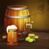 Bannière de fond de baril de tasse de chêne de bière illustration libre de droits