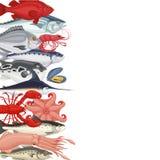 Bannière de fond de fruits de mer Image libre de droits