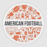 Bannière de football américain avec la ligne icônes de la boule, champ, joueur, sifflement, casque Photos libres de droits