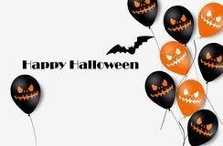 Bannière de Halloween avec des ballons de Halloween Ghost Ballons à air effrayants Illustration Configuration illustration stock