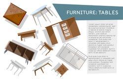 Bannière de Horisontal avec l'ensemble de différents types de tables planant sur le fond blanc avec l'espace pour votre texte flo illustration libre de droits