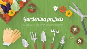 Bannière de jardinage à la maison Photos stock
