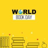 Bannière de jaune de jour de livre du monde illustration de vecteur