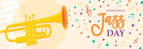Bannière de Jazz Day d'instrument de musique de trompette illustration de vecteur