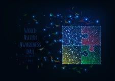 Bannière de jour de conscience d'autisme du monde avec le bas poly puzzle denteux de lueur, les étoiles, les triangles et le text illustration stock