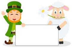 Bannière de jour de Patrick s de lutin et de moutons Photographie stock libre de droits