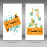 Bannière de jour du ` s de St Patrick avec des ballons et des feuilles de trèfle illustration stock