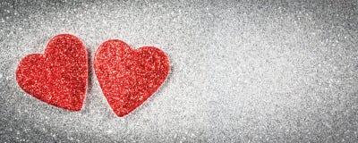 Bannière de jour du ` s de Valentine, cartes de voeux de coeurs Photos stock