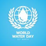Bannière de jour de l'eau du monde avec de l'eau blanc baisse dans la ligne signe de la terre de cercle et guirlande de laurier s illustration libre de droits