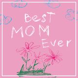 Bannière de jour de mères La meilleure maman jamais L'affiche dans la craie ou la couleur crayonne le style de dessin d'enfant Il Photographie stock