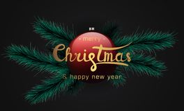 Bannière de Joyeux Noël et de bonne année illustration de vecteur
