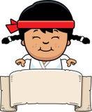 Bannière de Karate Kid de bande dessinée illustration de vecteur