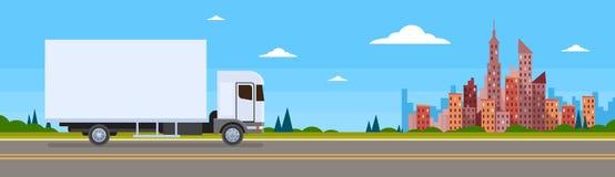 Bannière de la livraison d'expédition de Lorry Car On Road Cargo de camion illustration de vecteur