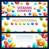 Bannière de la pilule 3d de vitamine pour le calibre de médecine illustration stock