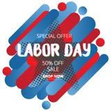 Bannière de la publicité de promotion des ventes de Fête du travail avec la couleur d'Ameri illustration de vecteur