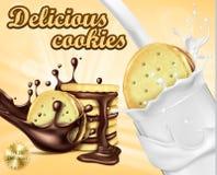 Bannière de la publicité pour des biscuits de sandwich à chocolat Images libres de droits
