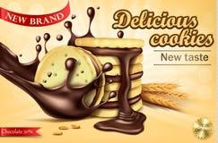 Bannière de la publicité pour des biscuits de sandwich à chocolat Photographie stock libre de droits
