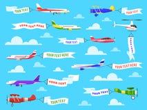 Bannière de la publicité de vol Ensemble de message de publicité des textes de calibre de ruban d'hélicoptère de vol d'avion de b illustration libre de droits