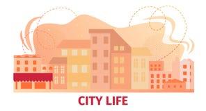 Banni?re de la vie de ville avec la vue urbaine de b?timents d'horizon illustration libre de droits