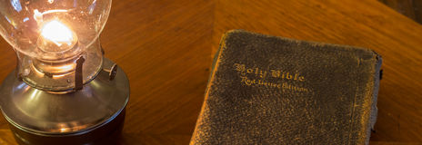 Bannière de lampe de bible Photographie stock libre de droits