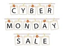 Bannière de lundi de Cyber des photos vides avec des feuilles d'érable Images stock