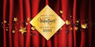 Bannière de luxe de vente de jour de valentines dans la calligraphie rouge de fond d'or décorative avec l'espace de copie illustration stock