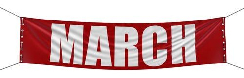 Bannière de mars (chemin de coupure inclus) Image stock