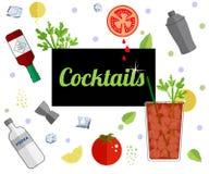 Bannière de menu de barre de boissons d'alcool illustration stock