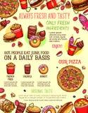 Bannière de menu d'aliments de préparation rapide avec l'hamburger, boisson, dessert Illustration Stock