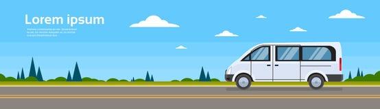 Bannière de minibus de route de Mini Bus Passenger Car On Images libres de droits