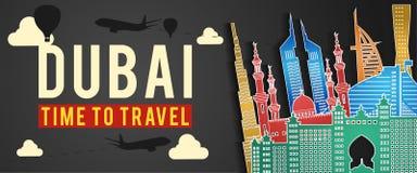 Bannière de mouche colorée de style, d'avion et de ballon de silhouette célèbre de point de repère de Dubaï autour avec le nuage illustration de vecteur
