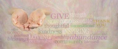 Bannière de mur de Word de charité Photos stock