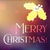 Bannière de Noël avec des feuilles de neige et de houx Images stock
