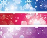Bannière de Noël avec des flocons de neige Photographie stock libre de droits