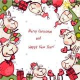 Bannière de Noël avec la chèvre et les RAM Images stock