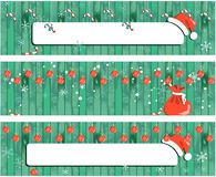 Bannière de Noël de collection, fond en bois de conception de nouvelle année avec la guirlande illustration stock