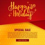 Bannière de Noël de conception de calibre Brochure de vacances de Happu avec la décoration Photos stock