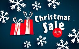 Bannière de Noël, flocons de neige de Noël illustration libre de droits