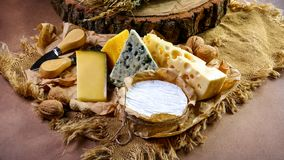 Bannière de nourriture, fromage avec le cercle bleu de rouille, de fromage de camembert ou de brie, couteau de portion de fromage photos libres de droits