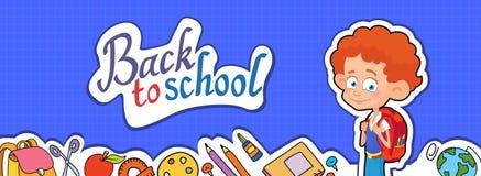 Bannière de nouveau au vecteur de logo de lettrage d'élève d'écolier Images stock