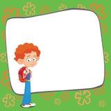 Bannière de nouveau au vecteur de logo de lettrage d'élève d'écolier Photos libres de droits