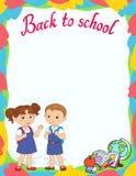 Bannière de nouveau au vecteur de logo de lettrage d'élève de fille d'écolier Images libres de droits
