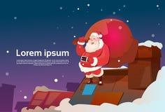 Bannière de nouvelle année de vacances de Noël de la livraison de présent de cheminée de Santa Claus With Sack On Roof Photos stock