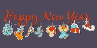 Bannière de nouvelle année Ensemble confortable d'affiche de nouvelle année Photo libre de droits
