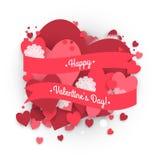 Bannière de papier de cercle avec le fond de coeurs au jour de St Valentine Photo libre de droits