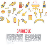 Bannière de partie de BBQ Illustration d'isolement de vecteur sur le fond blanc, icônes de schéma Image stock