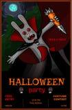 Bannière de partie de Halloween avec le lapin de vampire Photo libre de droits