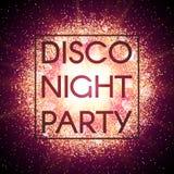 Bannière de partie de nuit de disco sur le fond abstrait d'explosion avec les éléments éclatants d'or Éclat d'étoile rougeoyante  Photographie stock