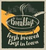Bannière de petit déjeuner avec les inscriptions et la poêle illustration de vecteur